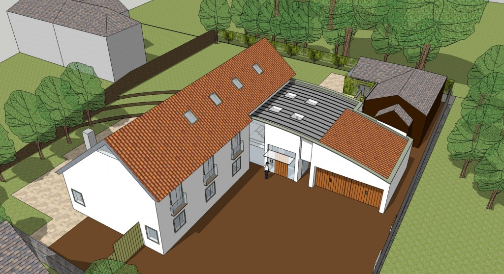 Aerial view new contemporary residence in home counties